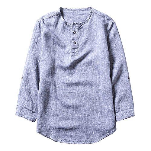 Pxmoda Herren Leinen und Baumwolle V-Ausschnitt Kurzarm T-Shirts Casual Tee (M, Lila) (Leinen Lila)