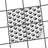 creatisto Küche Bad Fliesenaufkleber Folie Sticker   Deko-Fliesen Küchen-Fliesen Bordüre Küchendeko   20x20 cm Muster Ornament Falling Cubes - Grau - 4 Stück
