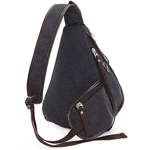 Gendi singola spalla propensa pacchetto triangolare petto colore solido della chiusura lampo Borse must-have borsa da viaggio di svago di modo (blu) nero