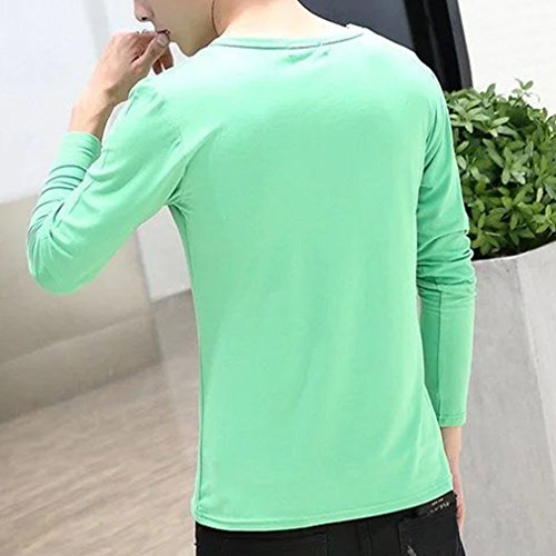 Honghu Sottile Cotone Tinta unita Manica lunga Maglietta Uomo Verde