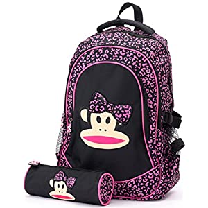 PAUL FRANK Bow Backpack and Pencil Case SET Pink/Black Schoolbag 214009201