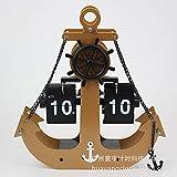 KOONNG Uhr Funk-Wanduhr Kuckucksuhr Automatische Seitenumdrehungsuhr Schreibtischdekoration Fabrik Direktanker Ankerform: 22.2 * 6.5 * 23.4cm@Gold