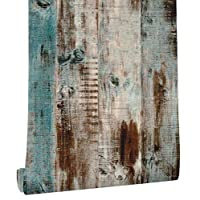 """HaokHome 61024 Vintage Woods Panel Wallpaper Rolls Blue/Brown Trees Kitchen Wall Paper Murals Barnwood Home 17.7""""x 19.7ft Prepasted Contact Paper"""