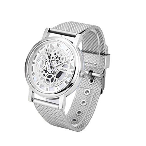 OHQ Unisex Armbanduhr Herren Damen Uhr Edelstahl Kunststoff Mesh-Metallband Lederband schwarz Analog Quarz Herrenuhr Damenuhr Wasserdicht Ultra-flach dünn Klassik (Silber)