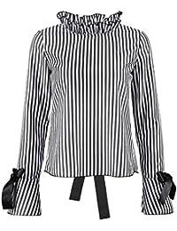 e8726350e7595 Longra Chemisier Femme Fille Rayé Manches longues Dos nu Laçage Tee shirt  Femme Originaux T-shirt Femme Marque Tops à manches…