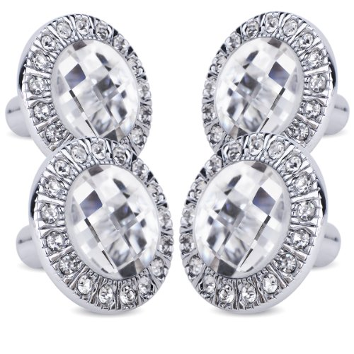 4er Design Bling Kristall Diamant Möbelknöpfe Möbelgriffe Möbelknauf MöbelKnopf Silbere Fassung Design-diamant Bling