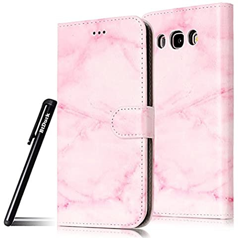 BtDuck Leather Case for Samsung Galaxy J5 2016 Pink marble lifelike Hide Camouflage guise PU Stand Painted pattern Phone Protector PU Leather Flip Folio Cover Anti-slip Skin Outdoor Protection Simple Strict Shockproof Heavy Duty Robust Bumper Case Shell with Stander Oyster Card ( Travel Card Bus Pass)Holder Slots Pocket Kickstand Function Magnetic Closure + 1 * Black Stylus Pen Black Look Up Put down the