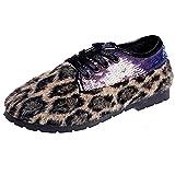 Stiefel Damen Schuhe SUNNSEAN Winter Mode Leopard Frauen Schuhe Peas Schuhe Plüsch Pailletten Lace-Up Schuhe Flache Schuhe