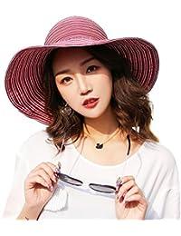 Sombrero Plegable del Verano Sombrero Ancho del Sol para Las Mujeres  Sombrero de la Playa con f4cb277163c