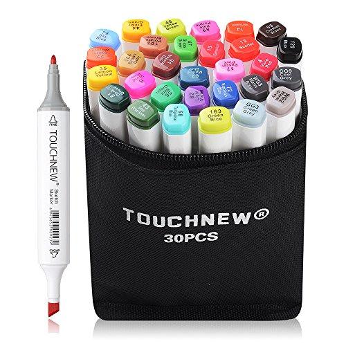 Kostüm Alkohol Tasche - Touchnew 30-Farben-Set, Alkohol-Filzstift, Markierer mit zwei Spitzen und Tragetasche für Porträt, Industriedesign und Skizze