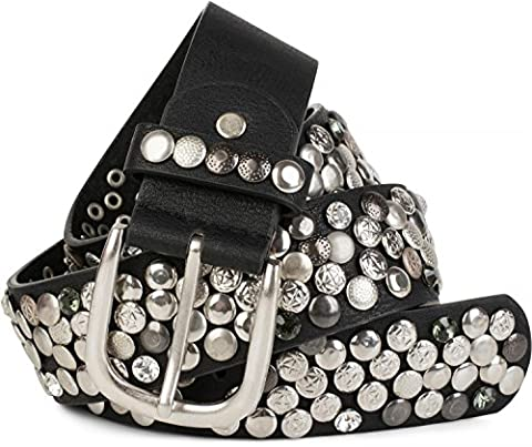 styleBREAKER Nietengürtel im Vintage Design mit echtem Leder, verschiedenen Nieten