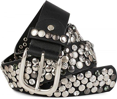 Strass Nieten Gürtel (styleBREAKER Nietengürtel im Vintage Design mit echtem Leder, verschiedenen Nieten und Strass, kürzbar, Damen 03010051,)