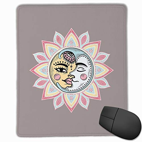 Mouse Mat Stitched Edges, Sun And Moon With Faces Abstract Floral Pattern Foliage Leaves Design Ethnic,Gaming Mouse Pad Non-Slip Rubber Base -