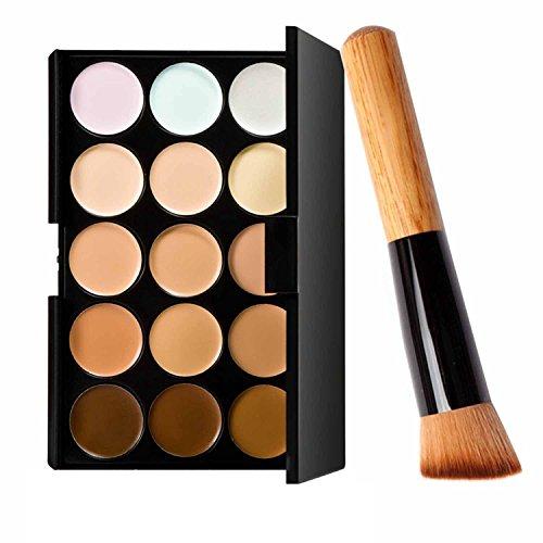 Vococal® 15 Couleurs Cosmétiques Maquillage Correcteur Palette Crème de Base avec le Pinceau à Poudre
