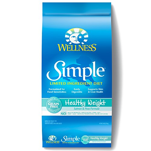 Wellness Simple Natural Grain Free Dry Limited Ingredient Healthy Weight Dog Food, Salmon & Peas, 24-Pound Bag by Wellness Natural Pet Food Wellness Pet Food