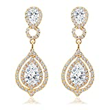 BiBeary Damen Kristall 8 Form Ewigkeit Fashion Anhänger Ohrhänger Ohrringe klar gold-Ton