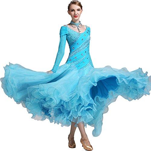 Standardtanz Kostüm Damen - Q-JIU Moderner Walzer Tango Dance Openwork Strass/Crystal Bühne Ballsaal Bankett Kostüm,Blue,L
