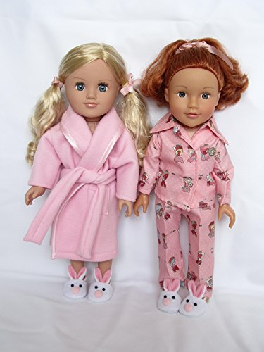 'Pink Lady' Schlafanzug, Pyjama, Bademantel und Bunny Hausschuhe zu passen DesignaFriend Sonnenbrillen, Sindy, Unsere Generation, Journey Mädchen, AMG. Carly, Cayla und andere 45,7cm Puppen