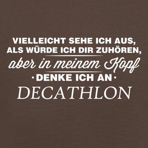 Vielleicht sehe ich aus als würde ich dir zuhören aber in meinem Kopf denke ich an Decathlon - Herren T-Shirt - 13 Farben Schokobraun