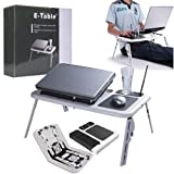 #9: DEZIINE E-table Portable Adjustable Height Laptop Desk Fit All Kind Laptop With 2 USB Cooling Fans