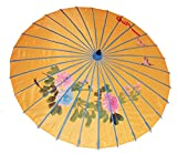 AAF Nommel ® Sonnenschirm 005, Dekoschirm aus Kunstfaser, Wasserfest in orange aus Bambus
