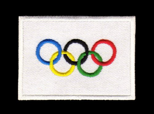 Aufnäher Bügelbild Iron on Patches Applikation Flagge Olympiade Olympia Olympische Ringe Sport (Olympische Ringe Flagge)