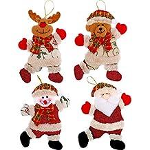 Blulu Adornos de Muñecos de Árbol de Navidad Colgantes de Navidad Adornos de Monigote de Nieve