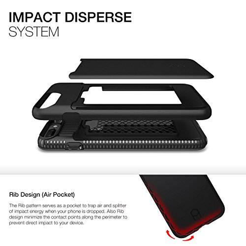 Patchworks Level Card Edition iPhone 7 Plus Custodia per iPhone 7 Plus custodia, iPhone 7 Plus protezione - Military Grade Certified Drop Protection, iPhone 7 Plus Case, Cover iPhone 7 Plus custodia,  Plus Black