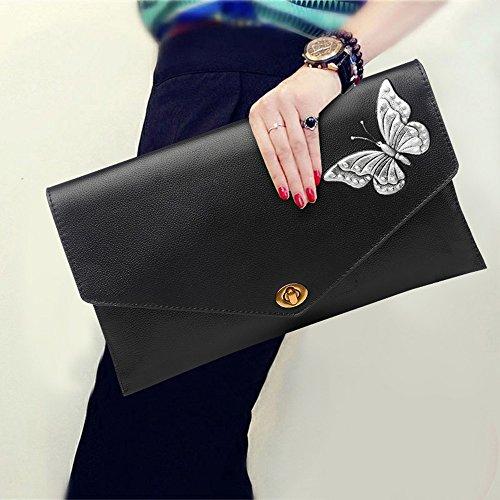 Leder Umschlag Tasche, Handtasche, Handtaschen, die erste Schicht aus Leder Damen Abendessen Paket ( Farbe : Lila ) Silber
