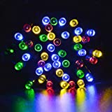 lederTEK Energía Solar Luces de Hadas de Cuerda 12m 100 LED 8 Modos de Luces de Navidad para Exterior, Jardínes, Hogares, Boda, Fiesta de Navidad,Impermeable (100 LED Color Multi-)