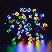 lederTEK potente solare leggiadramente impermeabile luci della stringa di 12m 100 LED 8 modi di Natale lampada decorativa per scoperta, giardino, casa, matrimonio, Natale Capodanno Party (100 LED Colore Multi)