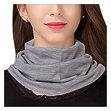 UK_Stone Halstuch Damen 30% Seide 70% Wolle Einfarbig Fake Kragen Bequem für Schutz und Dekor des Halses, Seichtes Grau