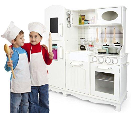 Leomark Grande Vintag Cocina Madera Infantil Cocina De Juguete Accesorios Para Niñas Cocinita Retro Grifo Fregadero Cubiertos De Madera Utensilios De Cocina Estilo Escandinavo Blanco White