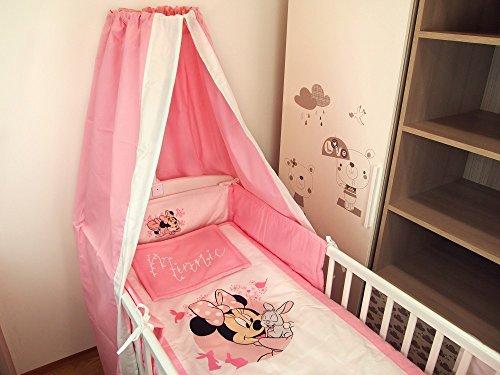Disney Minnie Mouse Mädchen- BABY-BETT-SET 4-teilig mit Bett-Decke 90x135cm, Kopf-Kissen 30x40cm, Gitterschutz 25x180cm und Baldachin 140x180cm nach...