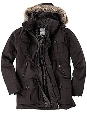 Brigg XXL Parka con capucha despegable marrón oscura