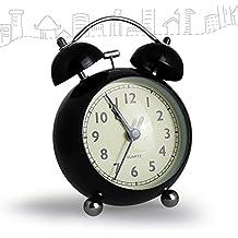 """Enllonish 4 """"Classic Bell sonido silencioso no Tic Tac Despertador, barrido de segunda mano reloj de alarma de cuarzo analógico con 5 minutos repetición de función de alarma, Loud Alarma, acero inoxidable, negro, small (Black)"""