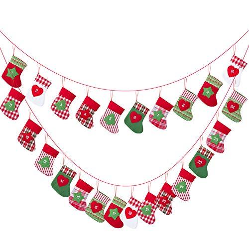 Kesote 24 Adventskalender zum Befüllen Aufhängen Weihnachtskalender Kette Filz Säckchen Weihnachten Deko Strumpf (15 x 10 cm)