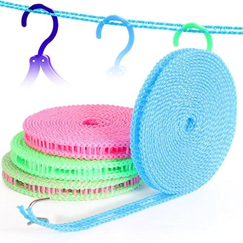 Kungken antivento Clothesline indoor outdoor viaggio essiccazione lavanderia antiscivolo Lavaggio linea di vestiti corda 5m