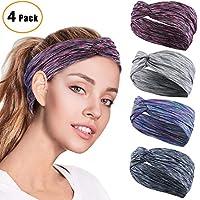 HZQDLN 4 Stück Frauen Sport Stirnband Anti Rutsch elastische Sport Stirnband Sport Wicking Stirnband kommt mit Cross Design Frauen Schweißband absorbierende Feuchtigkeit für Yoga, Reiten, Basketball