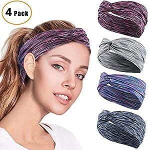 GoHZQ 4 Stück Frauen Sport Stirnband Anti Rutsch elastische Sport Stirnband Sport Wicking Stirnband kommt mit Cross Design Frauen Schweißband absorbierende Feuchtigkeit für Yoga Reiten Basketball