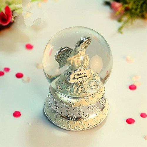 GDS High-end matrimonio regalo d'argento sfera di cristallo di music box, il Carillon Angelo regali di nozze