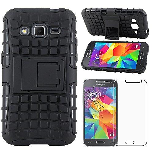 ebestStar - Coque Samsung Galaxy Core Prime SM-G360F, 4G SM-G361F VE - Etui Housse Coque COMBO Duo Armor Support + Film protection écran en VERRE Trempé, Couleur Noir [Dimensions PRECISES de votre appareil : 130.8 x 67.9 x 8.8 mm, écran 4.5'']