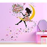 Salón dormitorio decoración pegatinas decorativas para pared, diseño de mariposas Magic hada brillante flor corazón guirnalda Vestido Rosa Maid adhesivo de pared para las niñas decoración de la habitación