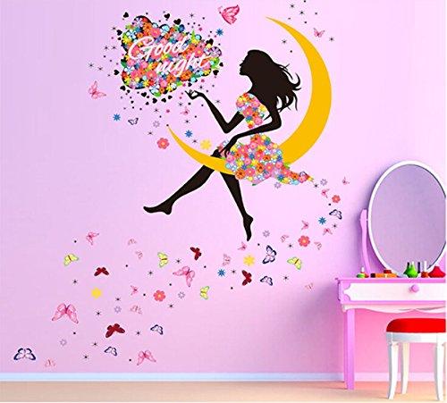 Adesivo decorativo da parete, motivo: fatina in abito rosa con ghirlanda di fiori a forma di cuore e circondata da farfalle, decorazione per il soggiorno o per la cameretta delle bambine, in colori sgargianti 10
