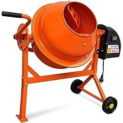 Hormigonera naranja eléctrica de acero, 63 litros, 220 V