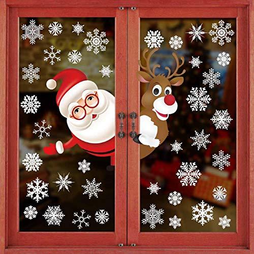 Tuopuda natale adesivi finestre natale vetrofanie addobbi natale adesivi porta murali sticker decorazione babbo natale adesivo rimovibile statico adesivi(multicolore)