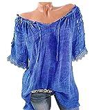 Quceyu Damen Blumen Spitze Tops Oversize Bluse Shirt Kurzarm V-Ausschnitt Oberteile Lose T Shirt (A-Blau, XXX-Large)