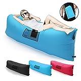 Aufblasbare Liege Couch mit Tragetasche Ultraleichte Tragbarer Outdoor Lazy Air Sofa Schnell Aufgebl (Blau)
