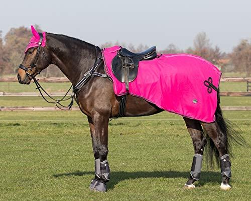 QHP Nierendecke Fleece-Ausreitdecke Eldorado, Sattelausschnitt hinten mit Ornament in Kontrastfarbe, Q-Cross Line (XL, Paradise)