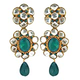 Peora Aqua Floral Kundan Earrings For Gi...
